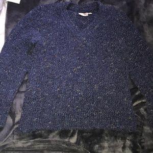 Blue multicolored v-neck sweater